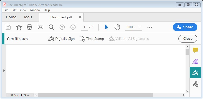 "The ""Certificates"" bar in Adobe Acrobat, where ""Digitally Sign"" is selected."
