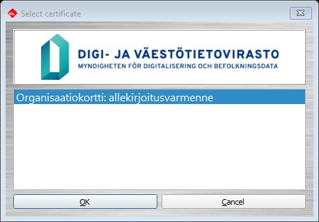 The Select certificate window of DigiSign Client. In the window, the software suggests a signature certificate.